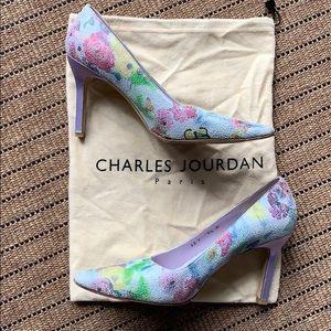 Charles Jourdan Floral Purple Heels 9.5